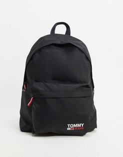 nylon backpack in black with logo