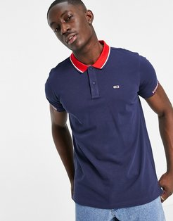 rib jaquard collar and cuff logo pique polo in twilight navy