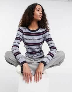 striped tommy logo pullover sweater in gray and navy-Multi