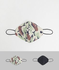 2 pack face coverings in camo-Green