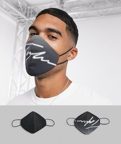 2 pack Signature face coverings in black