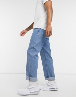 baggy jeans in mid wash-Blues