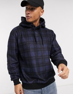 brushed hoody in navy check