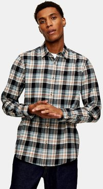 checked slim shirt in blue-Blues