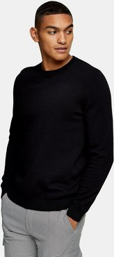 essential knitted sweater in black