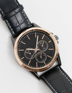 faux leather chronograph watch in black