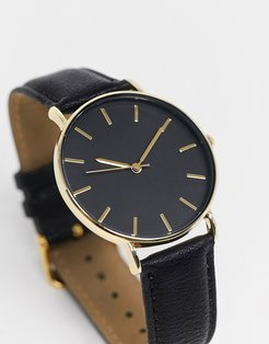 faux leather watch in black