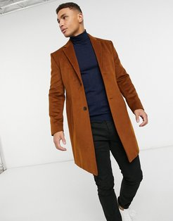 faux wool overcoat in brown