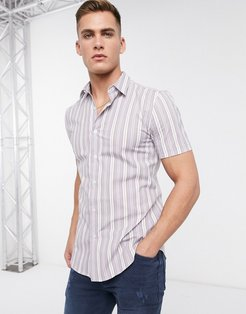 formal shirt in gray & white stripe