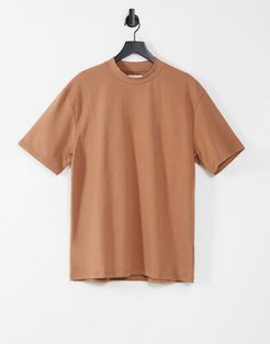 high neck t-shirt in camel-Brown