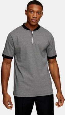 houndstooth polo in gray