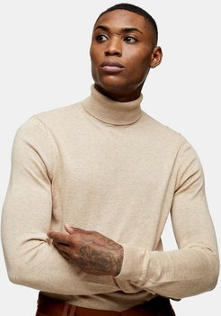 knit roll neck in stone heather-Neutral