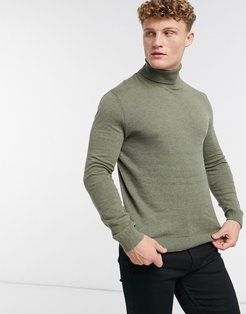 knitted roll neck sweater in green