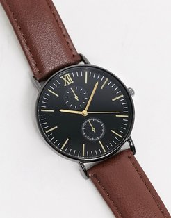 leather chronograph watch in brown