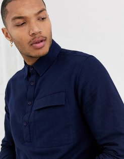 long sleeve shirt in brushed navy