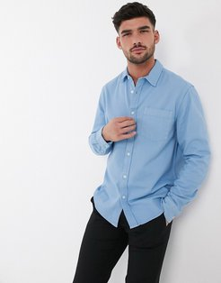 long sleeve twill shirt in light blue