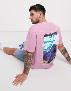 oversized t-shirt with beyond summit back print in pink