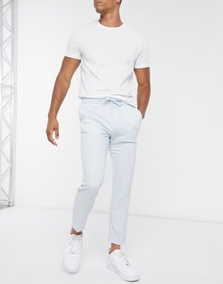 pants with elasticated waistband in light blue