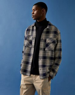 plaid overshirt in navy-Blues