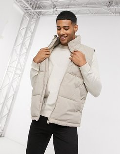 recycled puffer vest in stone