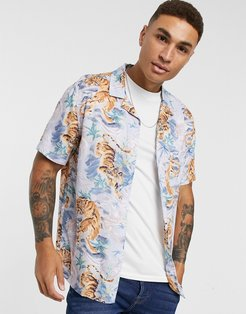 short sleeve revere shirt with tiger print in blue-Multi