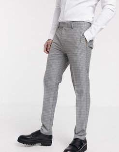 skinny smart pants in blue & gray check