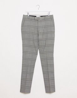 skinny smart puppytooth check pants in stone & black