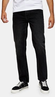 straight fit jeans in washed black