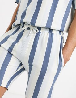 striped jersey shorts in gray & white-Pink