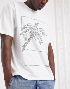 t-shirt with palm sketch in white