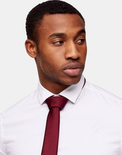 tie with clip in burgundy-Red