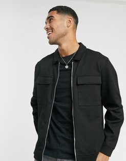 twill 2 pocket shacket in black