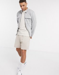 twill 2 pocket shacket in gray