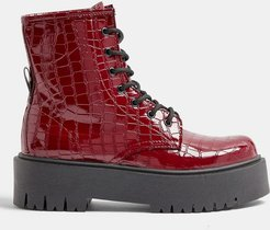 chunky croc patent boots in burgundy-Red