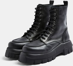 chunky leather lace up boots in black