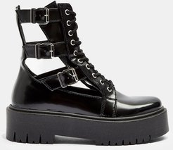cut out buckle boots in black