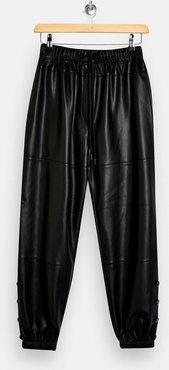 faux leather sweatpants in black