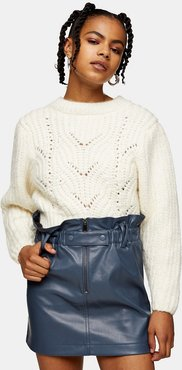 faux leather zip detail paperbag mini skirt in blue-Blues
