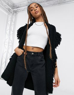 knitted shaggy vest in black