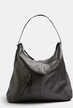 leather large tote bag in black