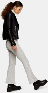 Ribbed Flared Pants in Gray-Brown