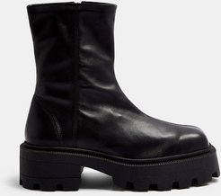 square toe leather chunky sock boots in black