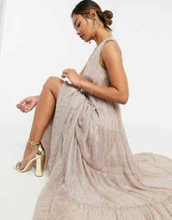 tiered maxi dress in gold