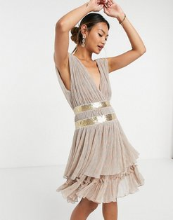 tiered plunge mini dress in gold