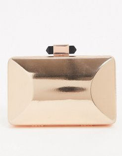 Exclusive rose gold square box clutch bag with detachable strap