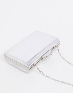 mirrored clutch bag with detachable strap in silver