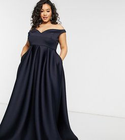True Violet Black Label Plus bardot prom maxi dress with pockets in navy