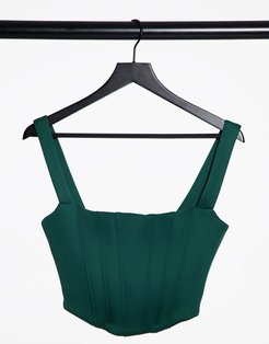 exclusive corset detail pointed bustier top in forest green