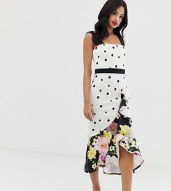 exclusive frill front midi dress in mixed polka floral print-Multi