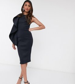 exclusive frill front midi pencil dress in navy